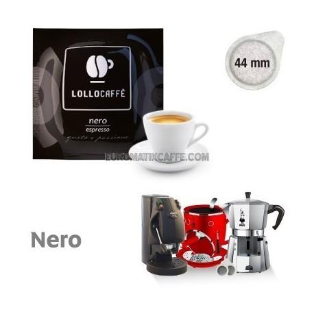 100 cialde Lollo caffè gusto Nero Espresso in carta filtro pods Ese 44mm